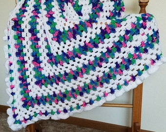 Multicolored Baby Afghan with Ruffled Edge