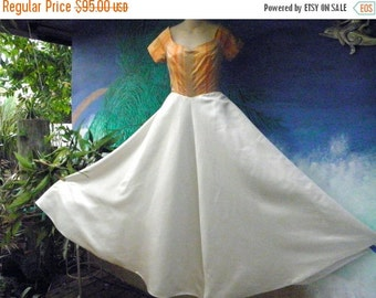 40% OFF C. 1950's Custom S/S Peach Silk Stiped & Cream Satin Vintage Maxi Dress, 9 foot Swing, Evening Gown