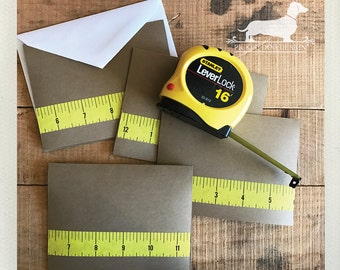CLEARANCE! Ruler. Note Cards (Set of 5) -- (Teacher Card, Yellow, Vintage-Style, Baby Boy Shower, Simple, Thank You Card, Housewarming Card)