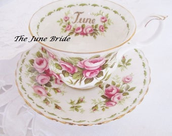 ROYAL ALBERT JUNE Flower of the Month Series teacup and saucer set, June roses tea cup, June bride teacup, excellent condition