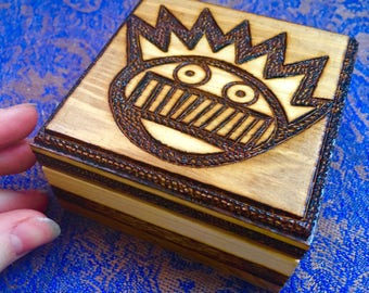 WEEN logo BOOGNISH Symbol Wood Burned Wooden Box