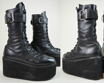 90s Goth Black Leather Lace Up Calf High Platform Wedge Boots UK 7.5 / US 10 / EU 40.5