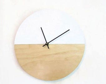 White Wall Clock, Wedding Gift, Gift For Couple, White Leather and Wood Home Decor, Minimalist Wall Clock, Home and Living