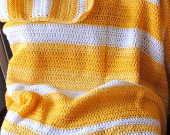 SALE 25% off- yellow stripes crochet afghan