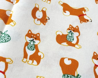 Cute Shiba Inu with bento fabric, Akitas fabric, printed in Japan, dog fabric, children fabric, puppy illustration
