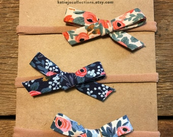 Rifle Paper Co Hair Bow Set/Bow Headband Set/Newborn Bow