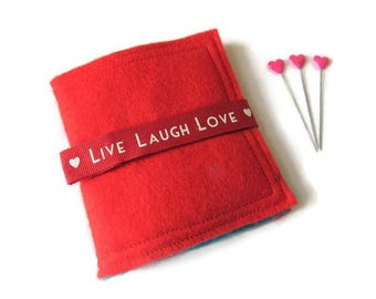 Red Felt Needle Case - Felt Needle Case - Sewing Needle Case - Hand Sewing Needle Case - Needle Book - Felt Needle Book