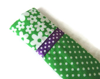 Bright Green Protective Sleeve For Emery Board - Nail File Case - Emery Board Cover - Ribbon Detail