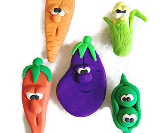 Vegetable Character Fridge Magnet Set,  Veg Magnets, Fridge Magnets, Polymer Clay,  Vegan Magnets, Vegetarian Gift, Miniature Food