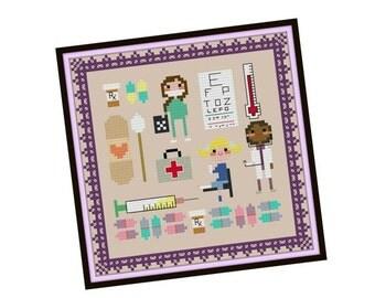 HALF OFF STOCK Up Sale Kawaii Doctor Cross Stitch Pattern - Pixel People Cross Stitch Pattern - Girls Cross Stitch - Easy Cross Stitch Pdf