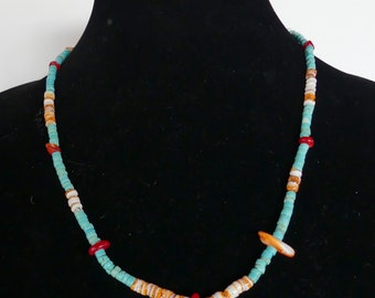 20 Inch Simple Turquoise and Spiny Oyster Necklace with earrings