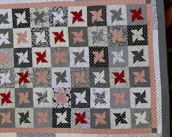 Red, Black and White Contemporary Star Hand Made Quilt 63 x 80