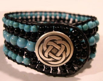 Beaded Cuff Bracelet,  Beaded Leather Cuff Bracelet- 892