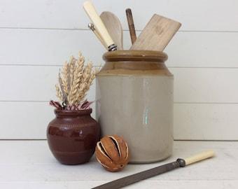 Stoneware Utensil Holder~Crock Pot~Farmhouse Kitchen~Stoneware Jar~Storage Jar~