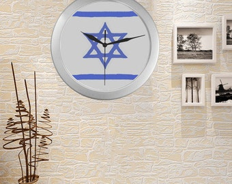 Judaica wall clock- Silver Color Wall Clock- Judaica gift for all budgets-custom possible.diameter 9.65''
