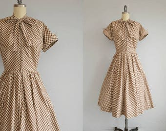 Vintage 50s Dress / 1950s Jonathan Logan Bias Gingham Check Plaid Cotton Zip Front Day Dress with Kitten Bow