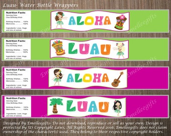 Luau Water Bottle Wrappers ~INSTANT DOWNLOAD~