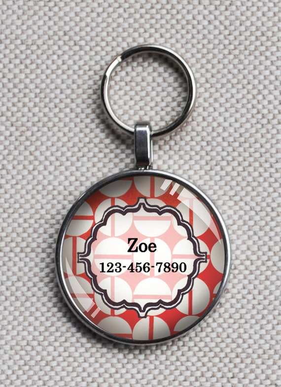 Pet iD tag small round CAT ID small breed Dog Tag Dog tag Cat Tag by California Kitties coral orange round ID CT4441