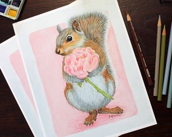Squirrel and Peony Giclee art print. Floral and woodland theme watercolor and color pencil. Nursery or Family wall decor. Sweet and elegant.