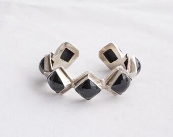 Cushion Cut Black Onyx Gemstone Silver Bracelet