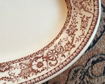 Oval Platter, Glo-Tan Brown Transferware Floral,  Hyde Park by Carr China ca 1940s
