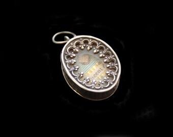 MercurysMoon-  Lovely Tiny Antique Silver French Reliquary Saint Vincent de Paul with Fleur de Lis Decoration