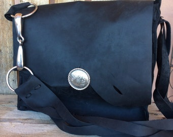 Southwestern Large Black Leather Handmade Tote w/Loose Ring Bit Horse Tack & Silver Concho