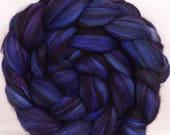 Batt in a Braid #14 - (4.8 oz.) -Cornflower - Baby black Alpaca / superfine Merino / Mulberry Silk ( 40/40/20)