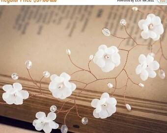 51_Rustic wedding crown, Flower crown, White floral crown, Rustic bridal crown, Pink gold flower hair accessory, Rustic crown, Wedding hair
