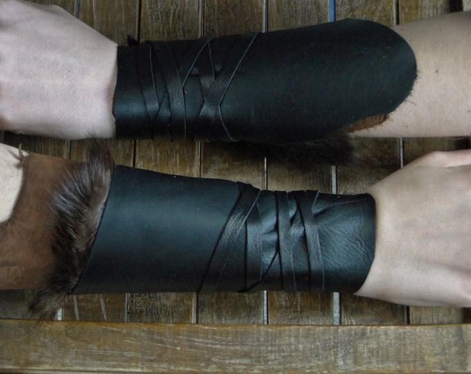 Leather Cuffs - Warrior Viking Tribal Larp Costume Cosplay - Pair #4c