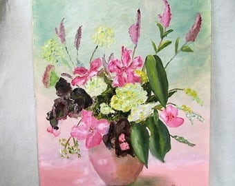 Vintage cottage painting pink vase with flowers signed by artist