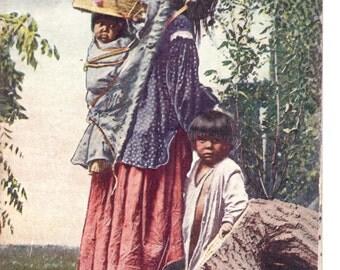 Vintage Postcard...Arizona, Apache Indian and Children...Used, 1911...no. AZ0011