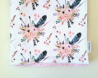 Floral Minky Blanket || Double Minky Baby Blanket || Pink Boho Floral Blanket || Minky Stroller Blanket || Girls Baby Blanket