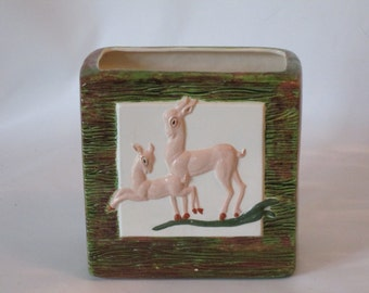 Aborn Ceramic Woodland Planter Faux Bois Doe and Fawn