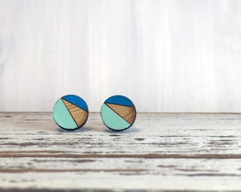 Blue and Green Round Bamboo Earrings // Geometric // Hypoallergenic  // Wood Jewelry //