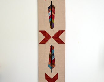 Feather Wall Hanging, Quilted Table Runner, Table Decor, Arrow Table Decor,  Southwestern Table Runner