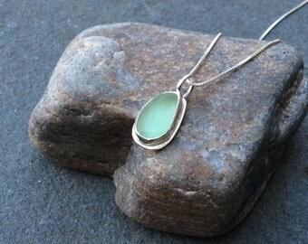 Sea glass jewelry, Bezel set sea foam green sea glass teardrop necklace