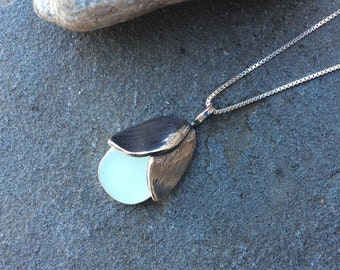 Sea glass jewelry,  Sea foam seaglass and fine silver hand sculpted rose necklace