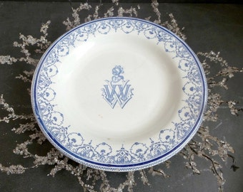 Antique french GIEN monogrammed Decorative plate. Gien plate with Knight and Armor .