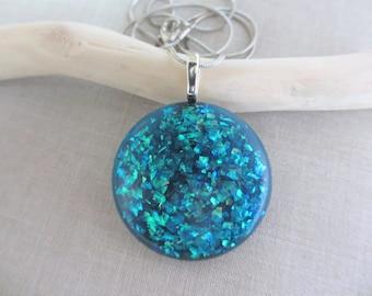 Handmade Necklace, Blue Resin Necklace, Glitter Necklace, Silver Necklace, Resin, Sparkle, Star, Round, Women, Teen, Gift