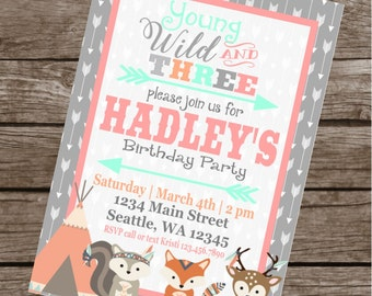 WILD AND THREE Girly Happy Birthday Party or Baby Shower Invitations Set of 12 {1 Dozen}