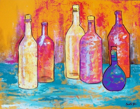 "Original painting Mexican tequila bottles collection still life pastel colors acrylic on paper 19.5"" x 25.5"""