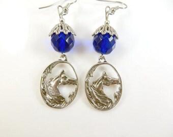 Blue horse earrings