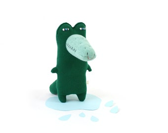 Kirby Crocodile - soft knitted lambswool toy, baby toy, plush toy