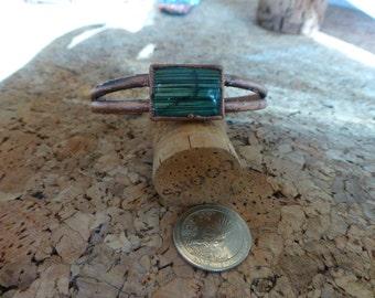Bracelet, cuff style, labradorite stone with electroformed band