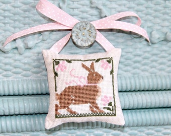 Bunny Pillow Ornament Doorknob Hanger Hand Made Cross Stitch Easter Spring Rustic Primitive Pinkeep Nursery Baby Decor