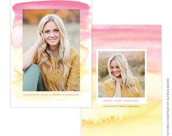 INSTANT DOWNLOAD - Graduation announcement - Photoshop Templates - E1485