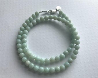 Amazonite Necklace, 6mm Amazonite Stone Necklace, Smooth Round Light Teal Blue / Green Stone Necklace