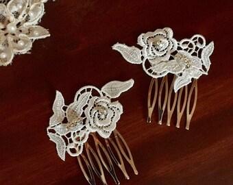 Vintage Wedding/Hair Comb Set/ Hair/ Hair Accessories/Wedding Accessories/Wedding/Venice Lace Comb Set/ Comb Set
