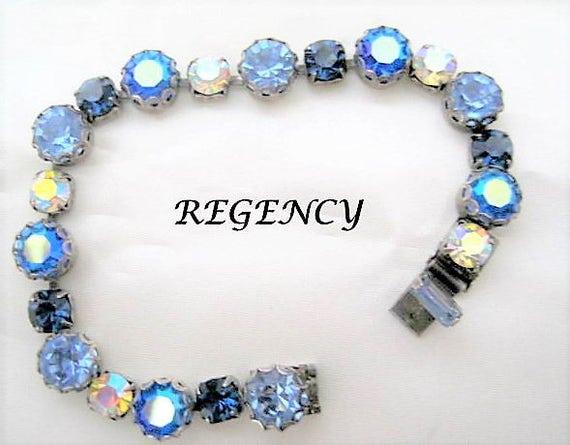 Regency Blue Bracelet -  Rhinestone Tennis Links - Sparkling Sapphire Links